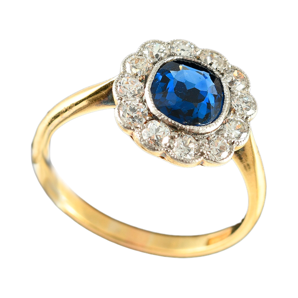 MM6246r Edwardian sapphire diamond platinum set ring 1910c - image 2