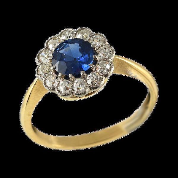 MM6372r platinum gold sapphire diamond cluster ring 1910/20c - image 1