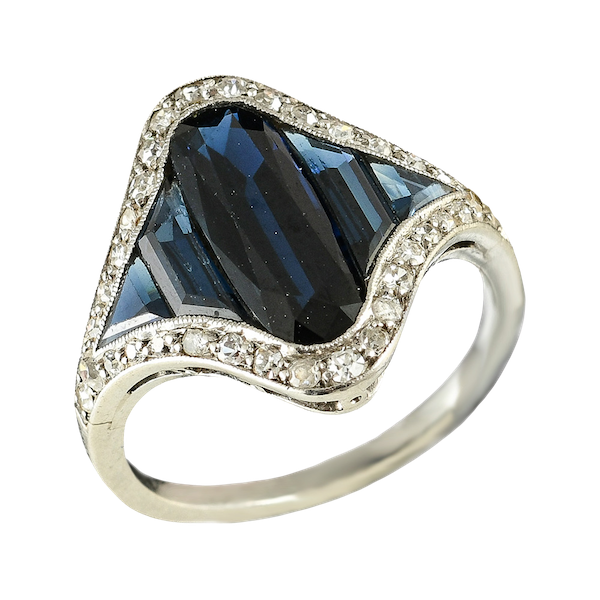 MM6494r French Art Deco Calibre  sapphire diamond platinum ring  1920c - image 1