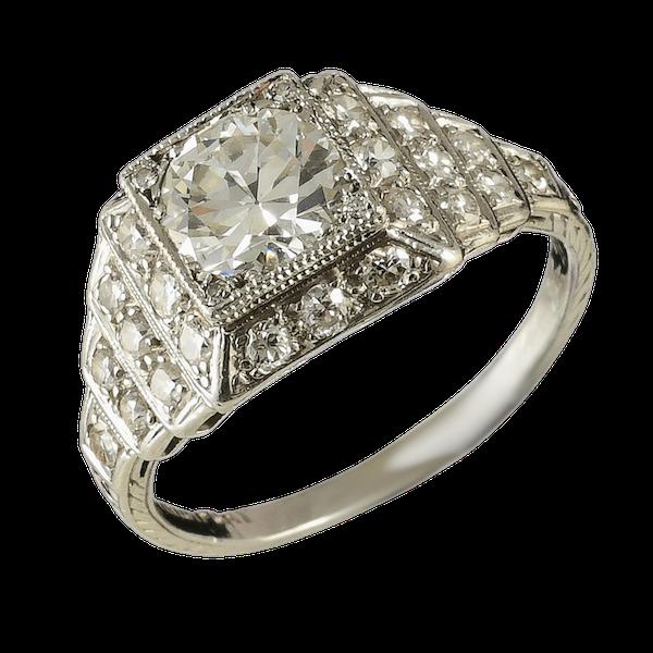MM6505 Fine quality Art Deco  diamond ring 1920c - image 1