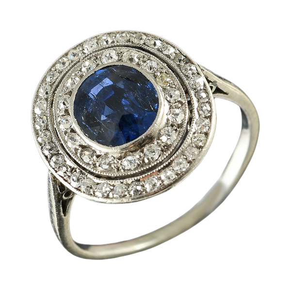 MM6468r Platinum Edwardian sapphire diamond target ring 1910c - image 1