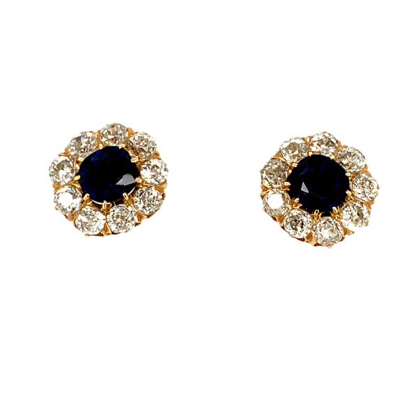 Victorian Sapphire and Diamond cluster Earrings - image 1