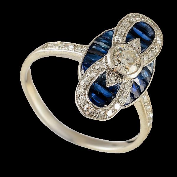 MM6408r Art Deco sapphire diamond platinum marquise ring 1920c - image 1