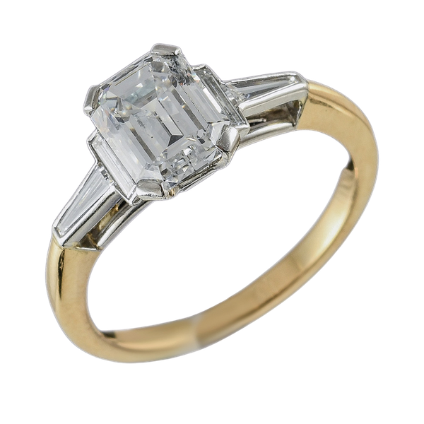 MM6503r Baguette diamond 1.43ct fine quality F/g ring yellow gold platinum - image 1