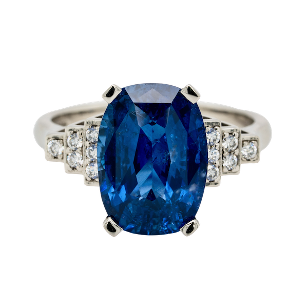 Platinum 5.40ct Natural Blue Sapphire and Diamond Ring - image 5
