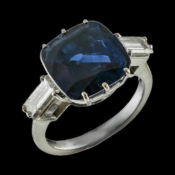 MM6376r Platinum set 6.84ct natural sapphire and diamond ring big look 1940c - image 1