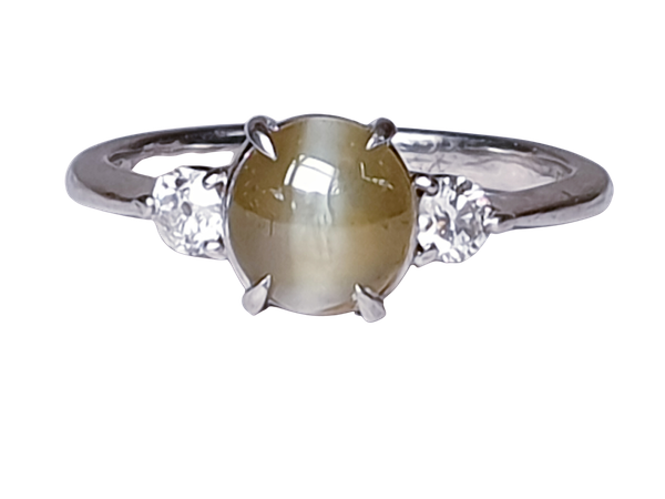 Cat's eye and diamond platinum ring  DBGEMS - image 1