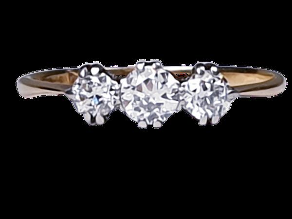 Edwardian Three Stone Diamond Engagement Ring  DBGEMS - image 1