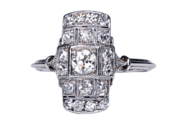Art deco diamond engagement ring  DBGEMS - image 1