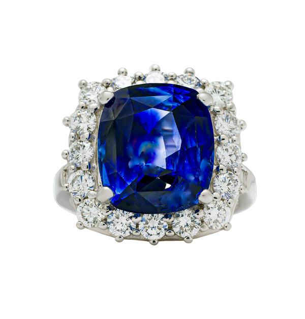 18K white gold 9.09ct Natural Blue Sapphire and 1.50ct Diamond Ring - image 5