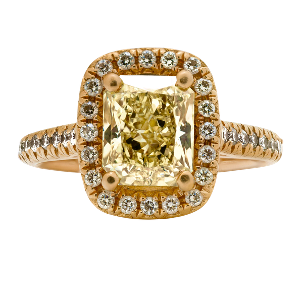 18K Yellow Gold 2.22ct  Natural Fancy Yellow Diamond Ring - image 5