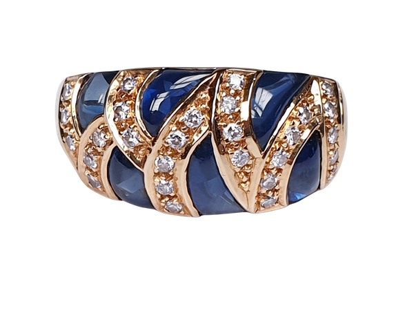 French Cabochon Sapphire and Diamond Gold Ring  DBGEMS - image 1