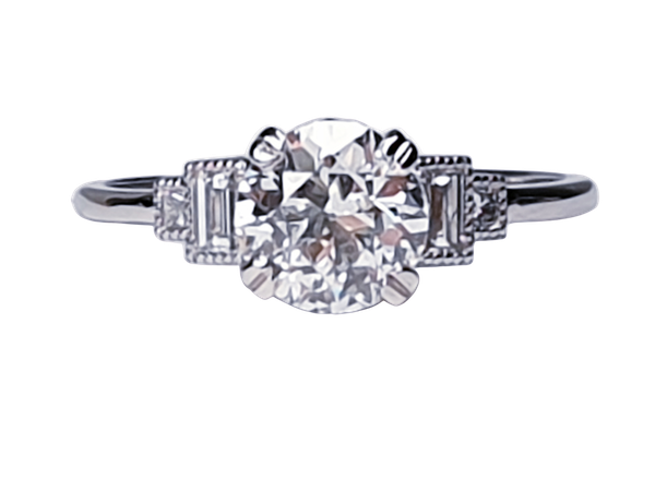 1.06ct old European transitional cut diamond engagement ring with baguette shoulders  DBGEMS - image 1
