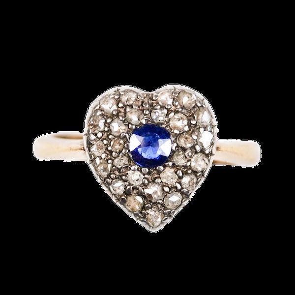 A 1900s Sapphire & Rose Diamond Heart Ring - image 3