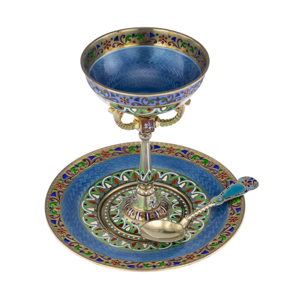Russian Silver Gilt and Enamel Sherbet Cup, Underplate & Spoon, Khlebnikov, Moscow c.1900 - image 1