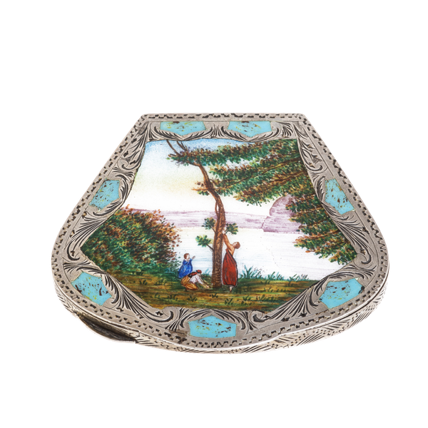 Silver and enamel compact - image 1