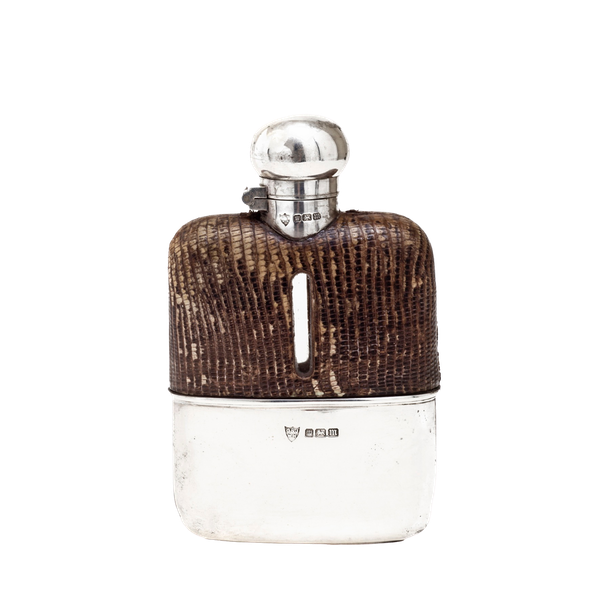 A silver whisky flask - image 1