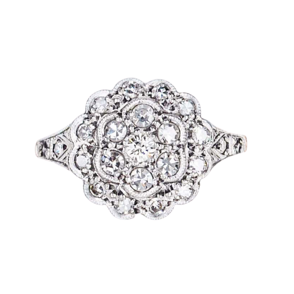 An antique Cluster Diamond Ring - image 2