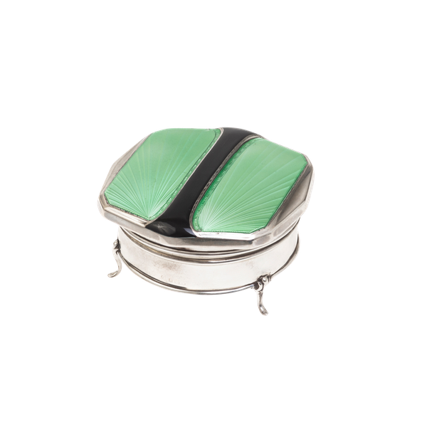 A silver and enamel jewellery box - image 1