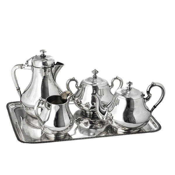 Russian Silver Four Piece Tea Set and Platter, St. Petersburg 1872-1884 by Sazikov - image 1