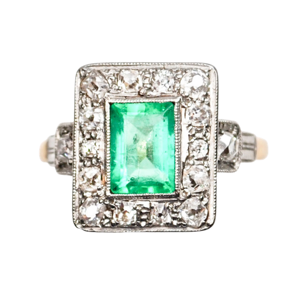 An Art Deco Emerald and Diamond Ring - image 1