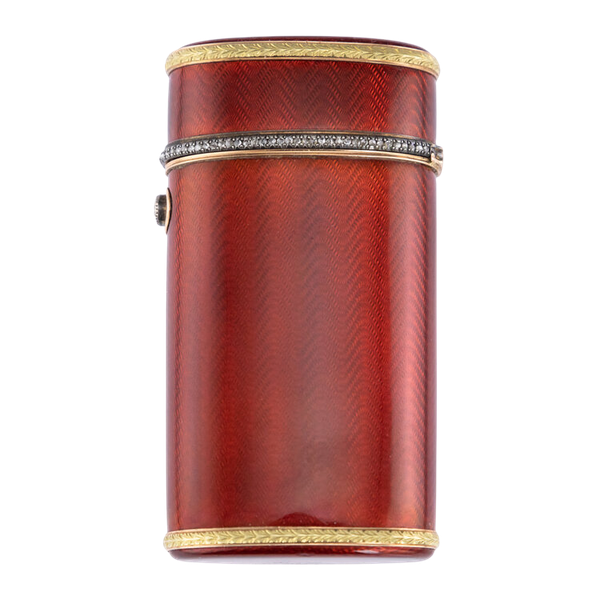 Faberge Gold and Silver Guilloche Enamel Cigarette Case, by Workmaster Henrik Winstrom c.1900 - image 1