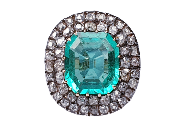 Antique 4.5ct Columbian Emerald and Diamond Ring  DBGEMS - image 1