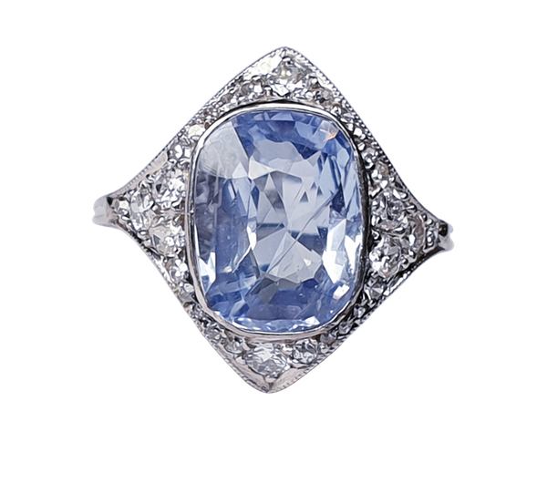 Art Deco Ceylon Sapphire and Diamond Wave Ring  DBGEMS - image 1