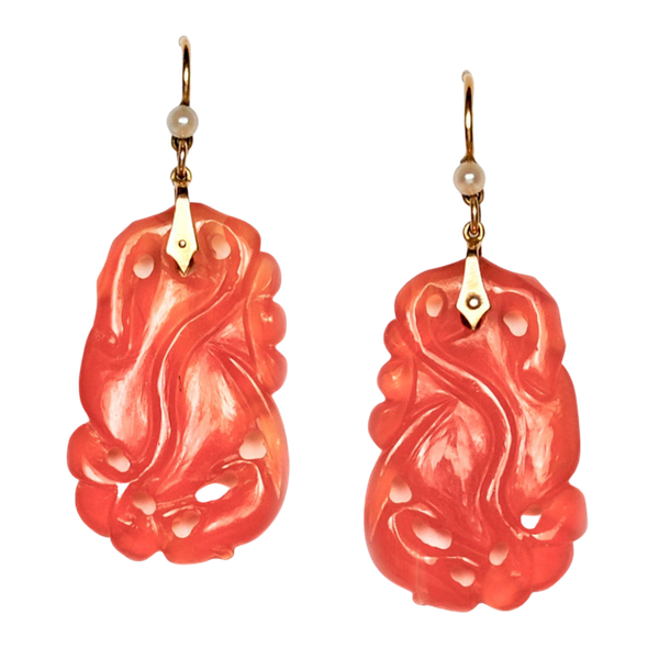A pair of Carnelian and Pearl drop earrings - image 2