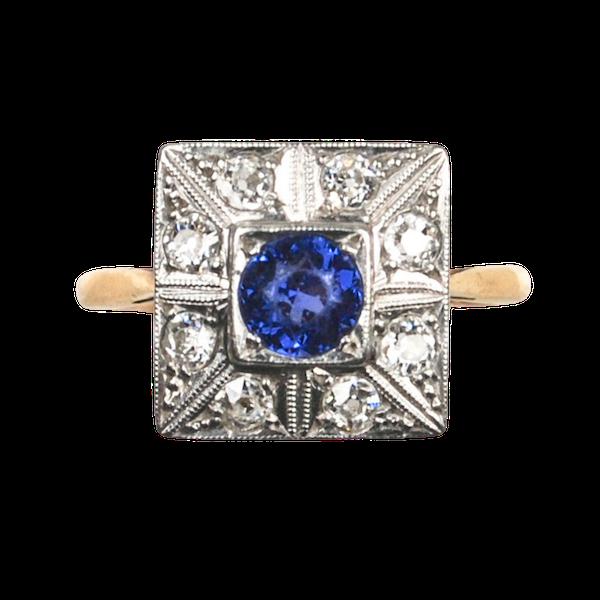 An Art Deco Sapphire and Diamond Ring - image 2