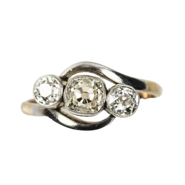 An Art Deco Three Diamond Ring - image 1
