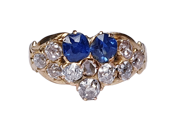 Antique sapphire and diamond pansy ring  DBGEMS - image 1