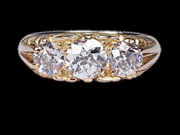 Three Stone Diamond Carved Half Hoop Ring  DBGEMS - image 1