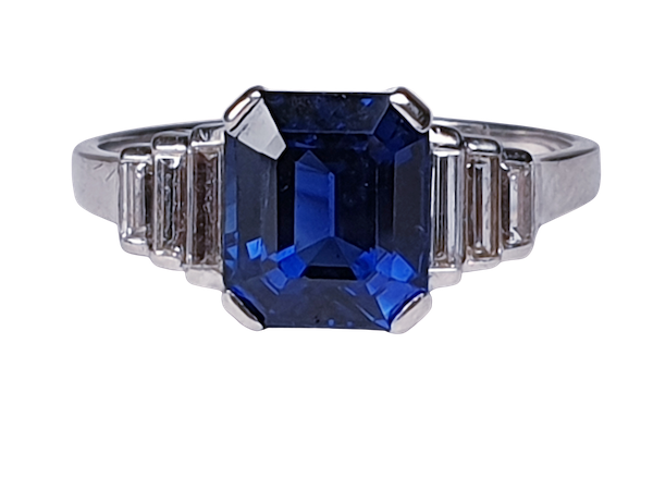 Fabulous sapphire and baguette diamond engagement ring  DBGEMS - image 1