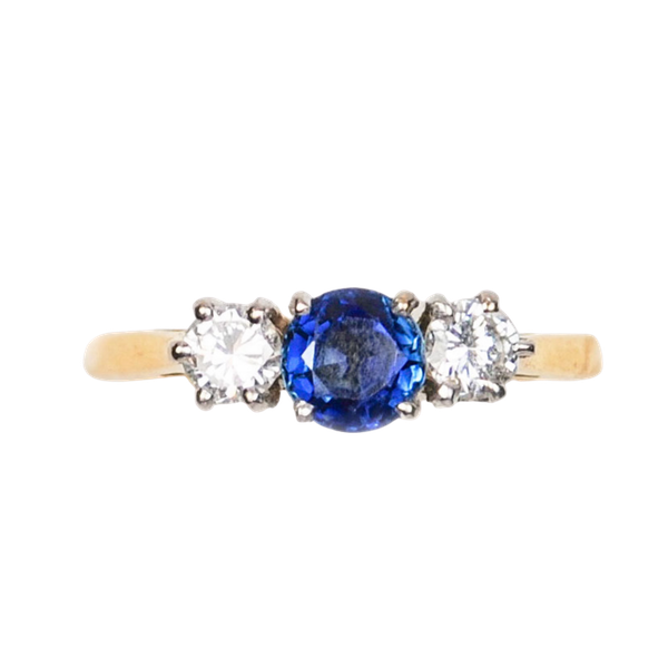 A three stone Sapphire and Diamond Ring - image 2