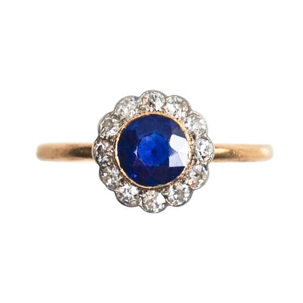 A 1900s Royal Blue Sapphire and Diamond Ring - image 3