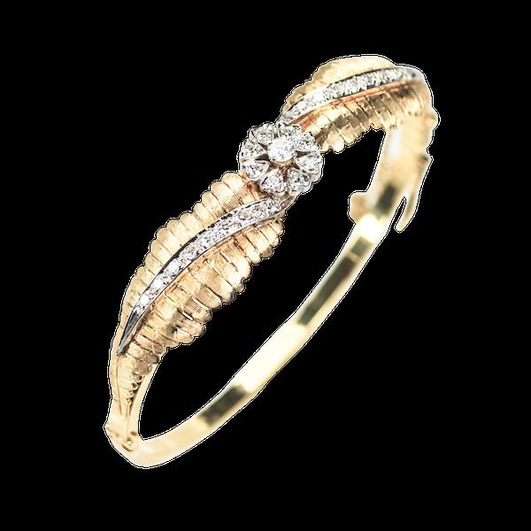 A 1910 Gold and Diamond Bangle - image 3
