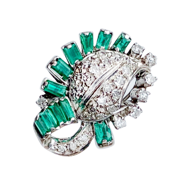 A 1950s Emerald and Diamond Dress Ring - image 1