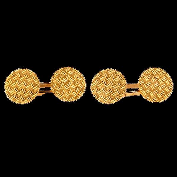 Antique Cufflinks Basket Weave Design in 18 Karat Gold, French circa 1900. - image 1