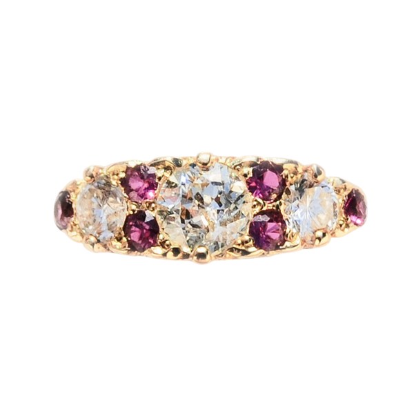 An 1860 Ruby and Diamond Gold Ring - image 1