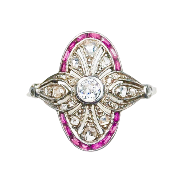 An Art Deco Ruby and Diamond Millegrain Ring - image 4