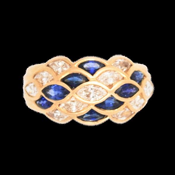 A Sapphire and Diamond Lattice Bombé Ring - image 2