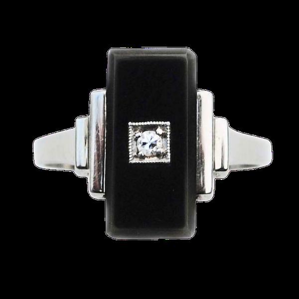 An Art Deco Onyx Diamond Ring - image 1