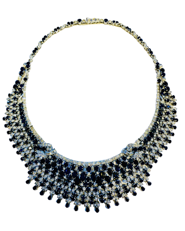 Vintage, white gold 50.00ct Natural Blue Sapphire and 7.00ct Diamond Necklace - image 1