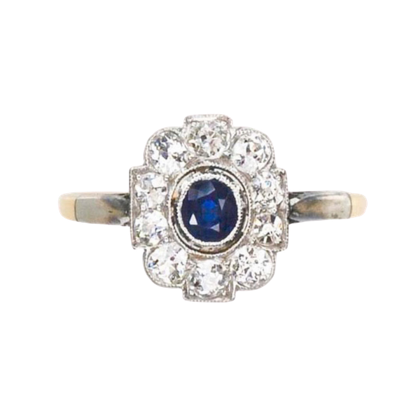 A 1920s Montana Diamond and Sapphire Ring - image 4