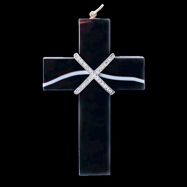 An 1880 Agate and Diamond Locket Cross - image 1
