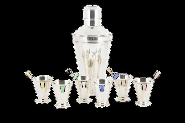 Fabulous Silver and Enamel Art Deco Cocktail Set - image 1
