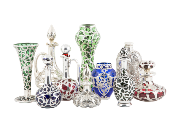Beautiful collection of stunning glass silver overlay perfume bottles and bud vases - image 1