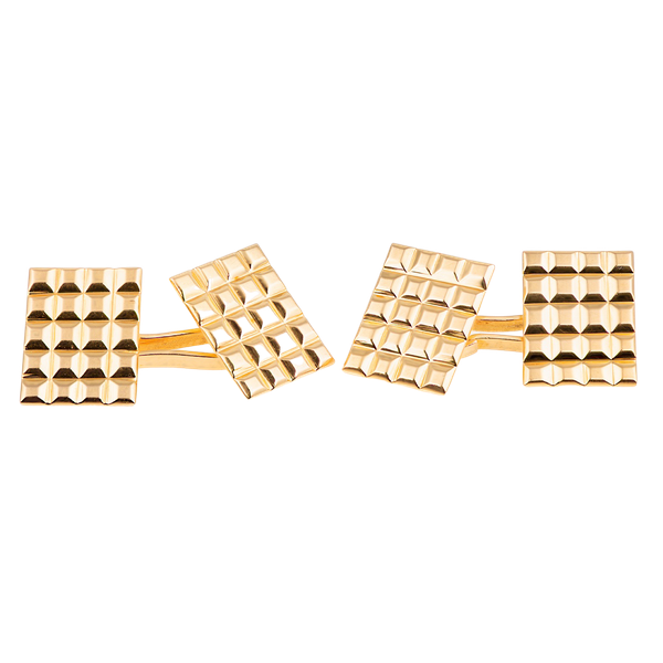 Vintage Cufflinks in 18 Karat Gold with Hobnail Design to Face, French circa 1950 - image 1