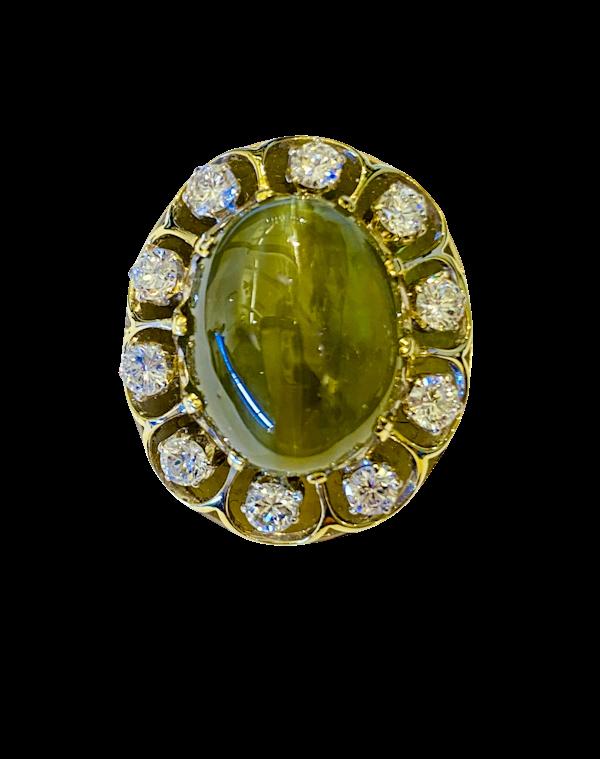 17.88ct Natural Chrysoberyl and Diamond Ring - image 1